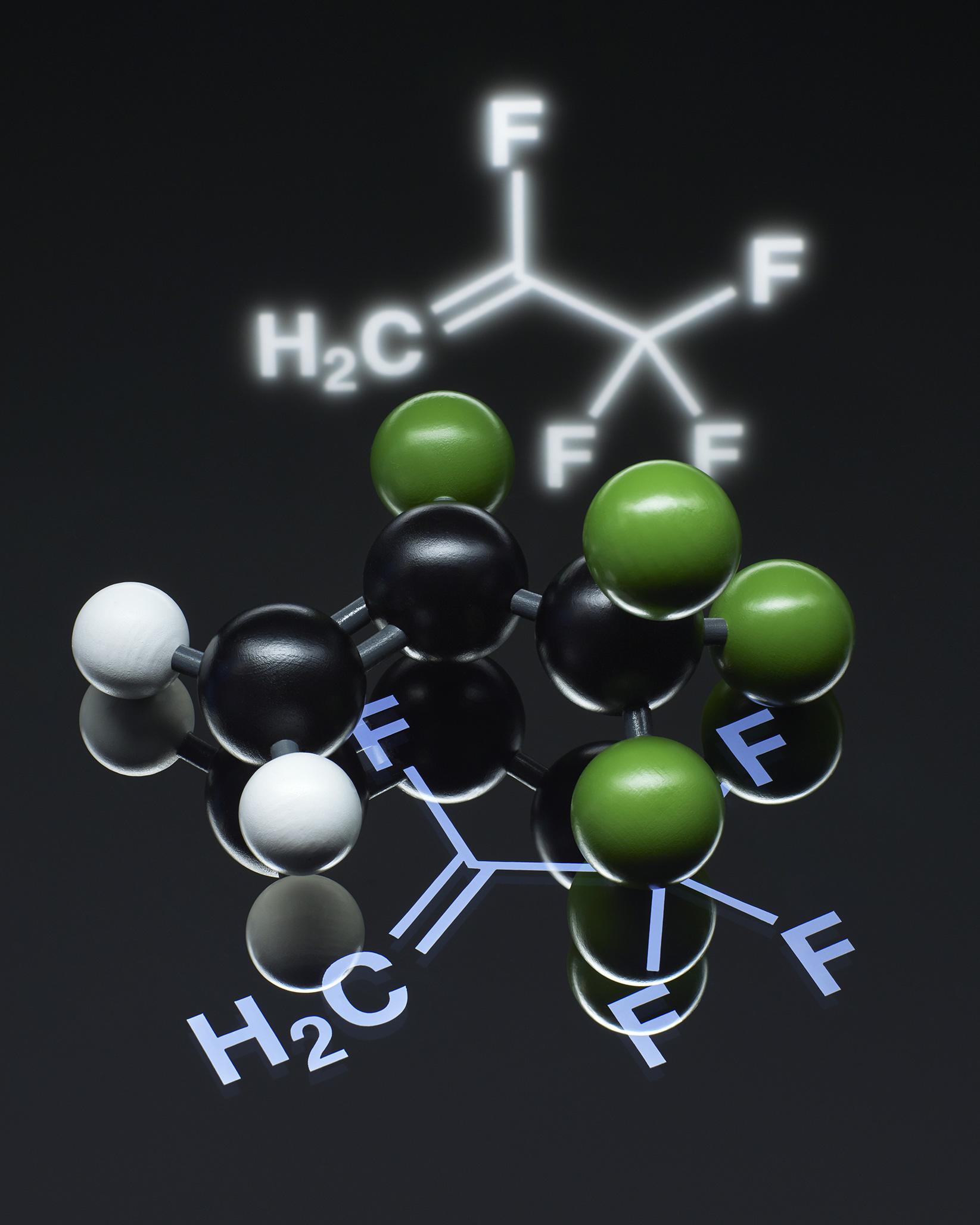 2,3,3,3-Tetrafluoropropen, chemische Strukturformel und Kalottenmodel